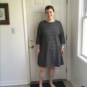 Black and white striped a-line dress